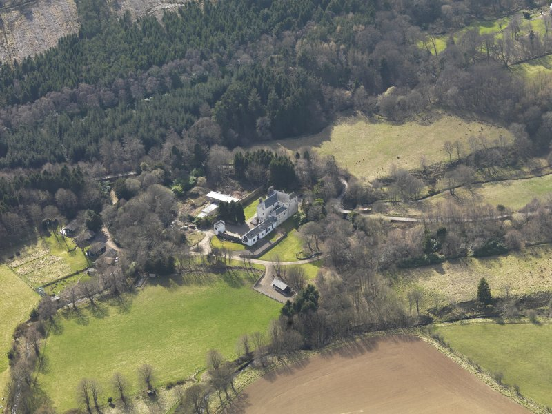 Oblique aerial view of Press Castle and policies, taken from the NE.