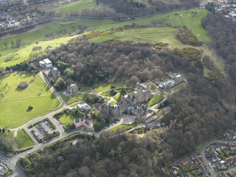 Oblique aerial view of Craighouse University Hospital, taken from the NE.