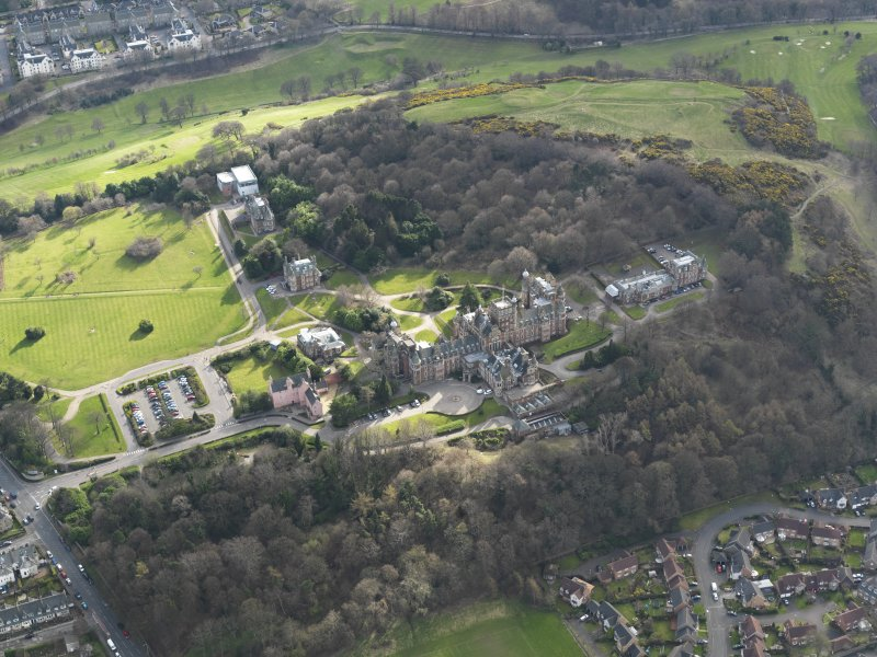 Oblique aerial view of Craighouse University Hospital, taken from the NNE.