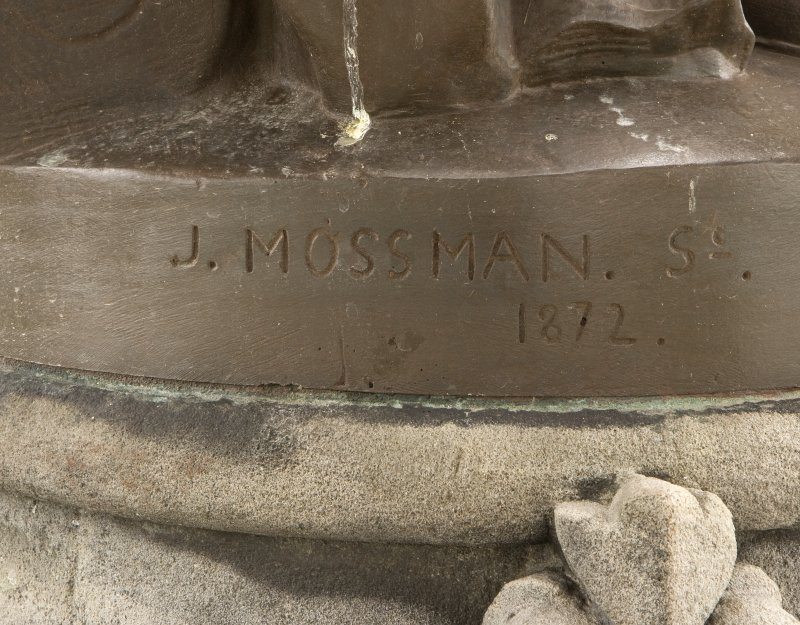 Detail showing sculptor's name on base of statue (Ellen Douglas, the Lady of the Lake) atop the Stewart Memorial Fountain, Kelvingrove Park, Glasgow