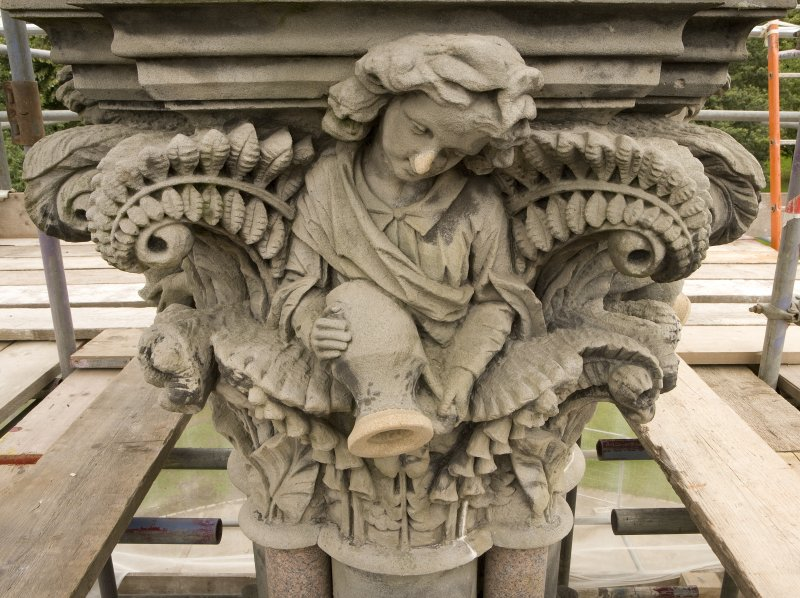 View of water-carrier capital on central column of Stewart Memorial Fountain, Kelvingrove Park, Glasgow