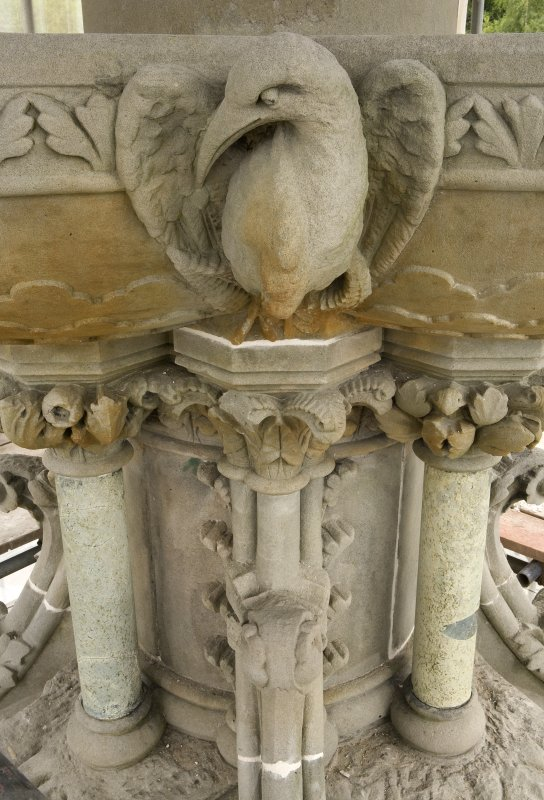 Detail of avian carving upon water basin with supporting central column, Stewart Memorial Fountain, Kelvingrove Park, Glasgow