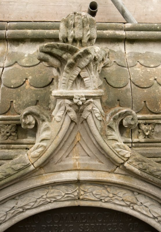 Detail of crockets and finial to ogee-arch on bottom water basin of the Stewart Memorial Fountain, Kelvingrove Park, Glasgow