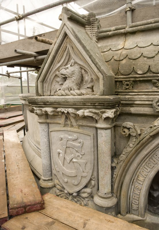 Detail of coat-of-arms with decorative architrave, on bottom water basin of the Stewart Memorial Fountain, Kelvingrove Park, Glasgow