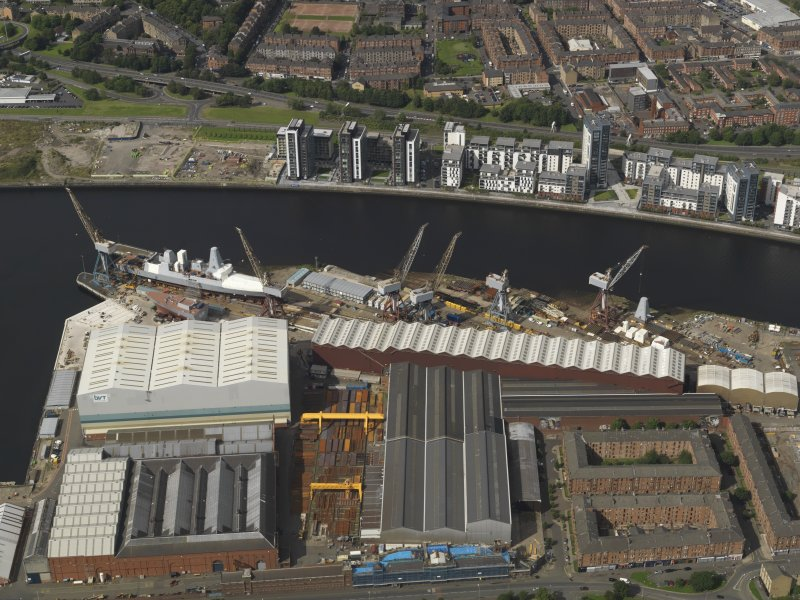 Oblique aerial view of the Fairfield shipyard, taken from the SSW.