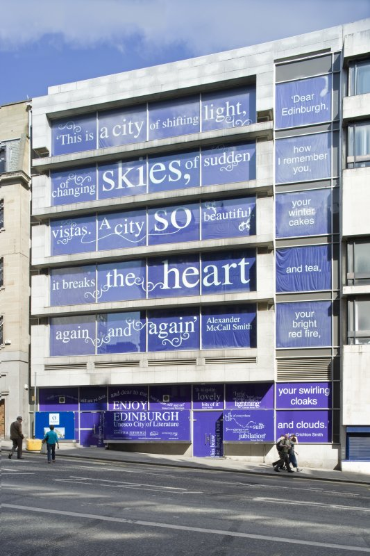 View of the Scottish Provident extension buildings, with city marketing posters in the window, taken from the west south west