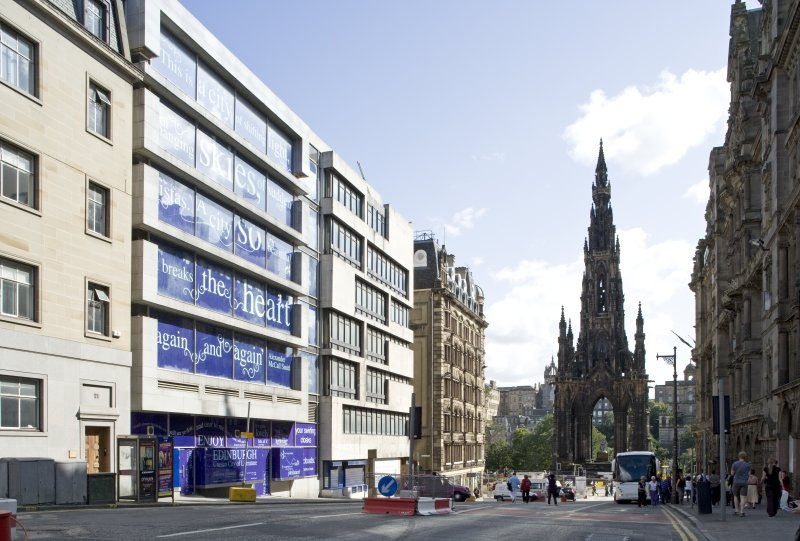 General view looking south along South St David Street to the Scott Monument,  taken from north west