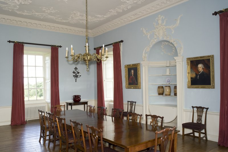 Interior. 1st floor, dining room, view from SE
