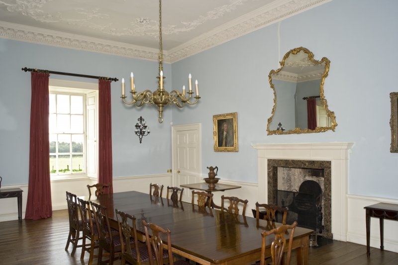 Interior. 1st floor, dining room, view from NW