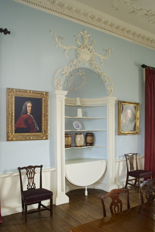 Interior. 1st floor, dining room, view of buffet niche