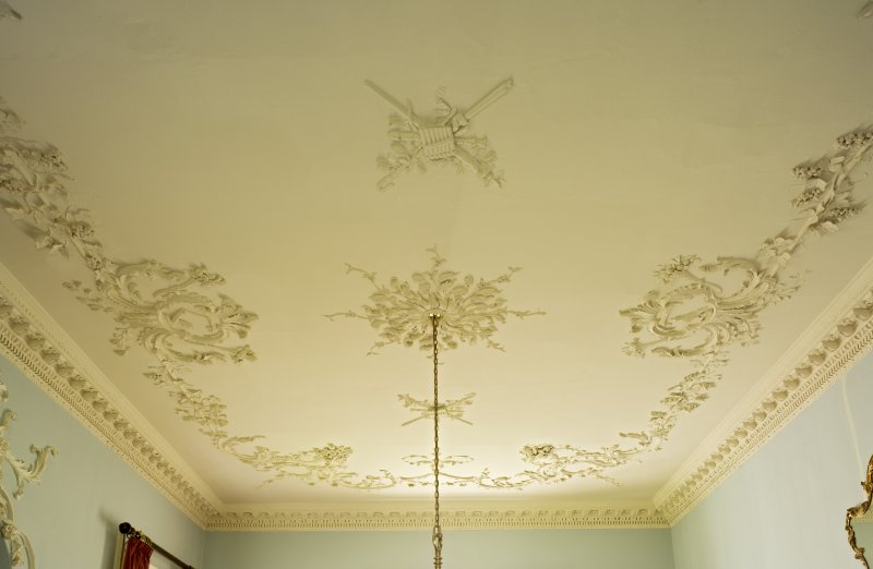 Interior. 1st floor, dining room, view of ceiling