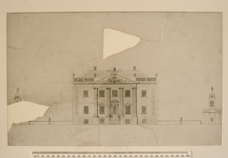 Interior. 1st floor, study, copy of drawing of elevation of house