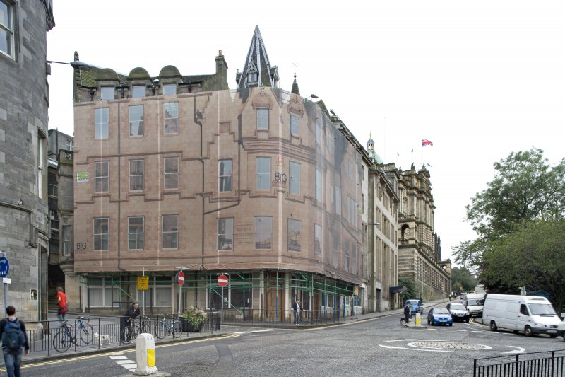 View of Market Street building with facade printed covering over the scaffold, taken from north east