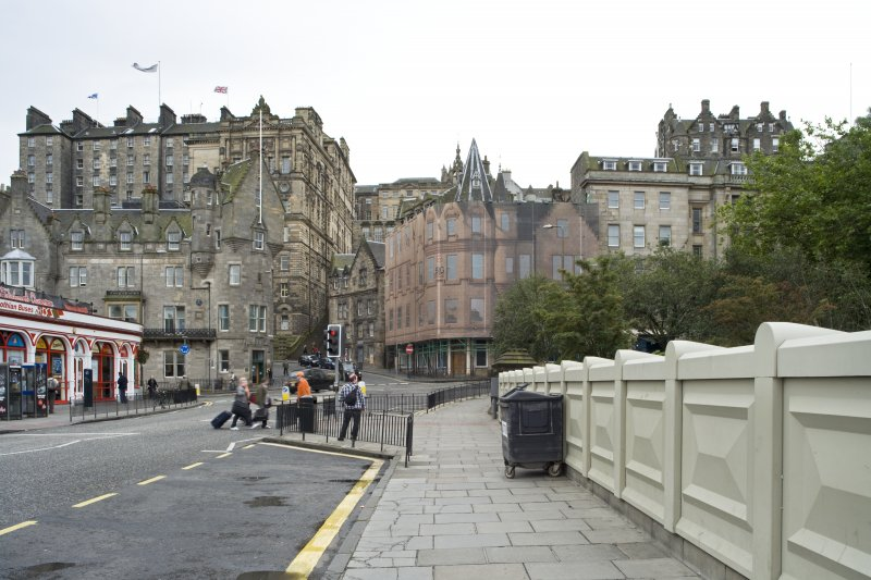 Streetscape view of Market Street building, taken looking along Waverley Bridge from north