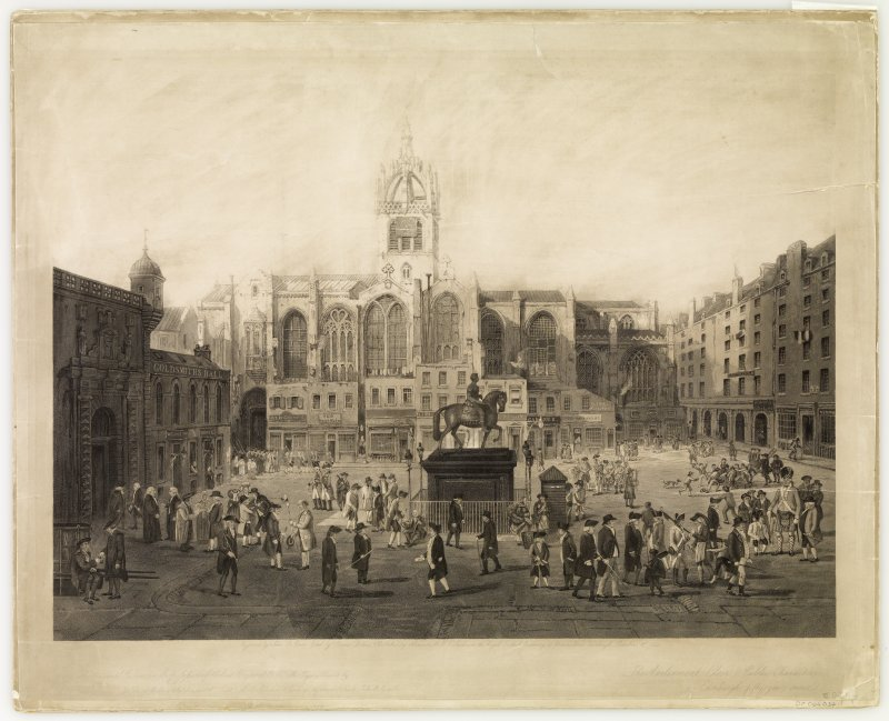 View of Edinburgh, Parliament Square. Engraving of Parliament Square, Edinburgh. 'The Parliament Close and public characters, of Edinburgh, 50 years since'.