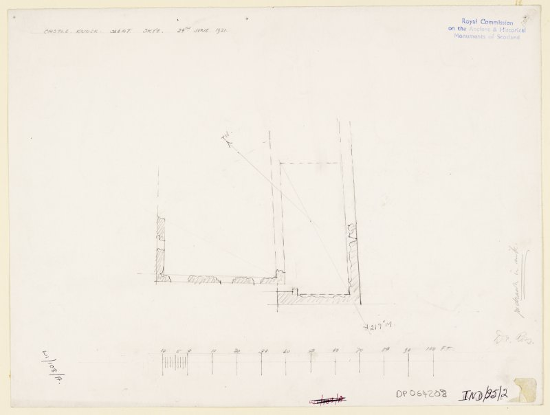Skye, Sleat, Knock Castle. Pencil survey plan of Knock castle. Signed: 'Dr Ross'.
