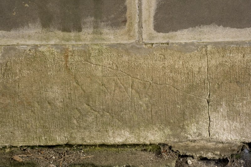 Sacristy, N wall, detail of mason's marks