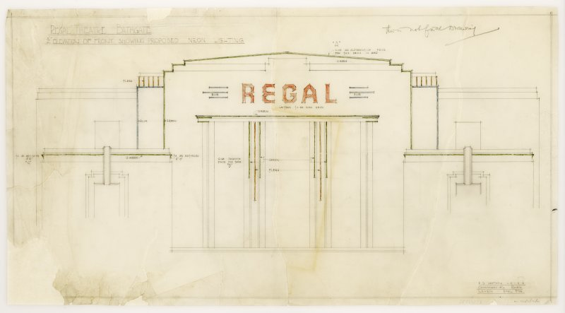 Details of front showing proposed neon lighting. Drawing after conservation.