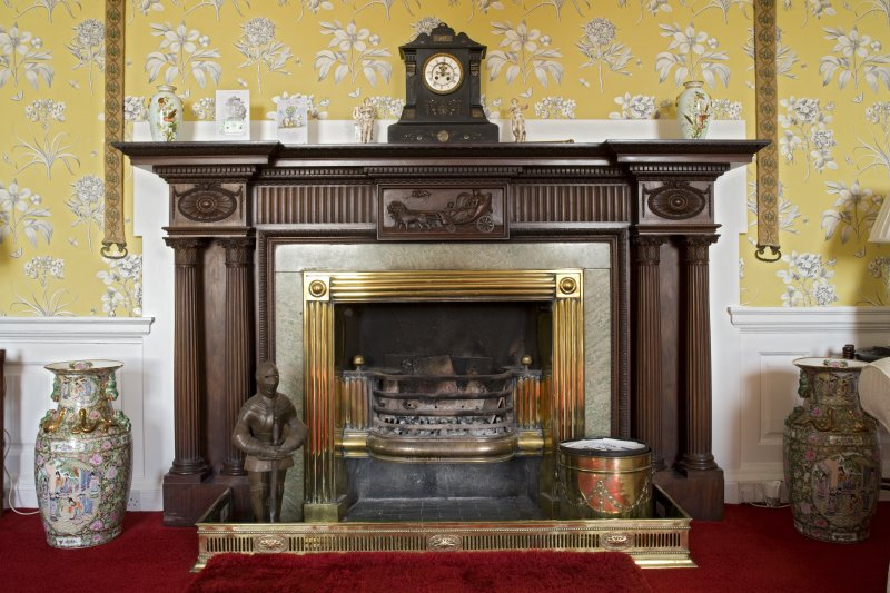 Interior. Ground floor, sitting room, detail of fireplace