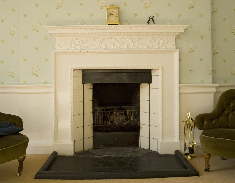 Interior. 1st floor, bedroom, detail of fireplace