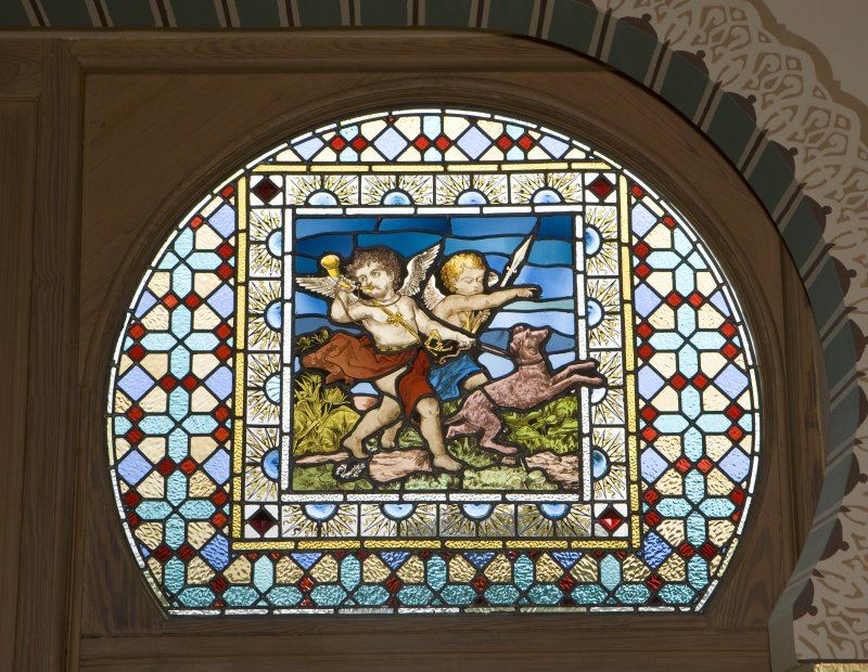 Interior. 1st floor, drawing room, detail of stained glass