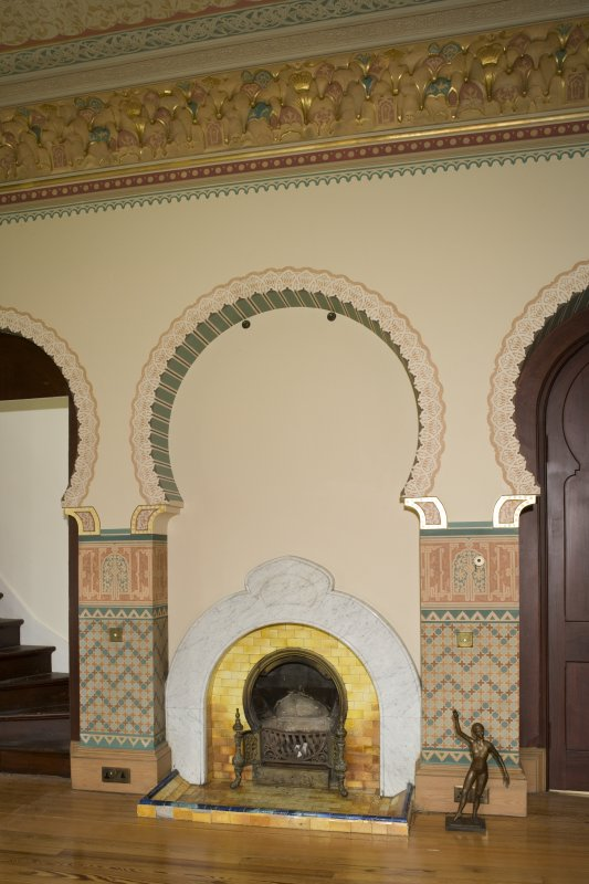 Interior. 1st floor, drawing room, view of fireplace