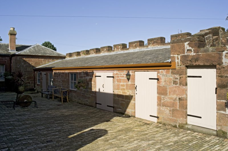 Range of outbuildings to N of house, view from courtyard to E
