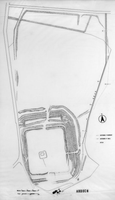Plan of Ardoch Roman Fort and annexe.