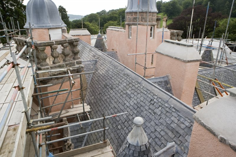View of roof and newly capped chimneys from scaffold