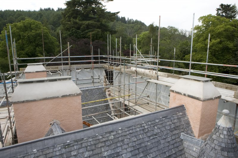 View of roof from scaffold