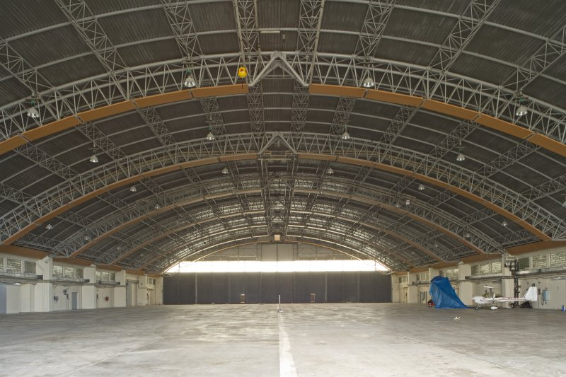 Interior view of Gaydon aircraft hangar showing roof construction.