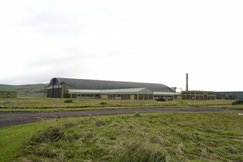 General view from NNE of Gaydon aircraft hangar.