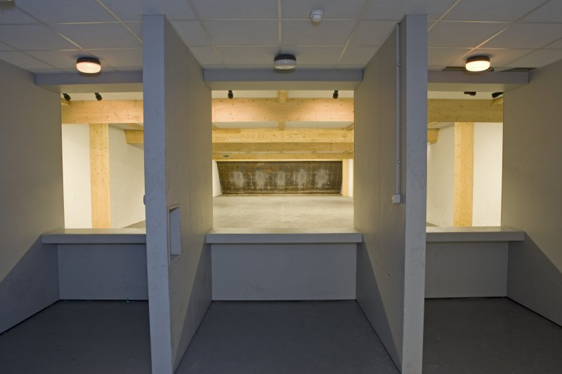 Interior of NSWU 2 operations building showing view to targets of the internal firing range.