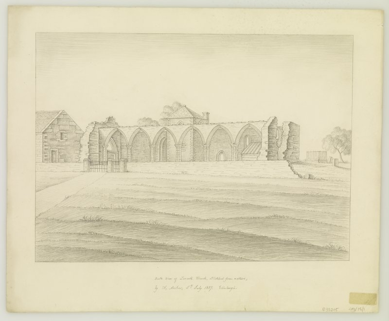 Drawing of church ruins from South.