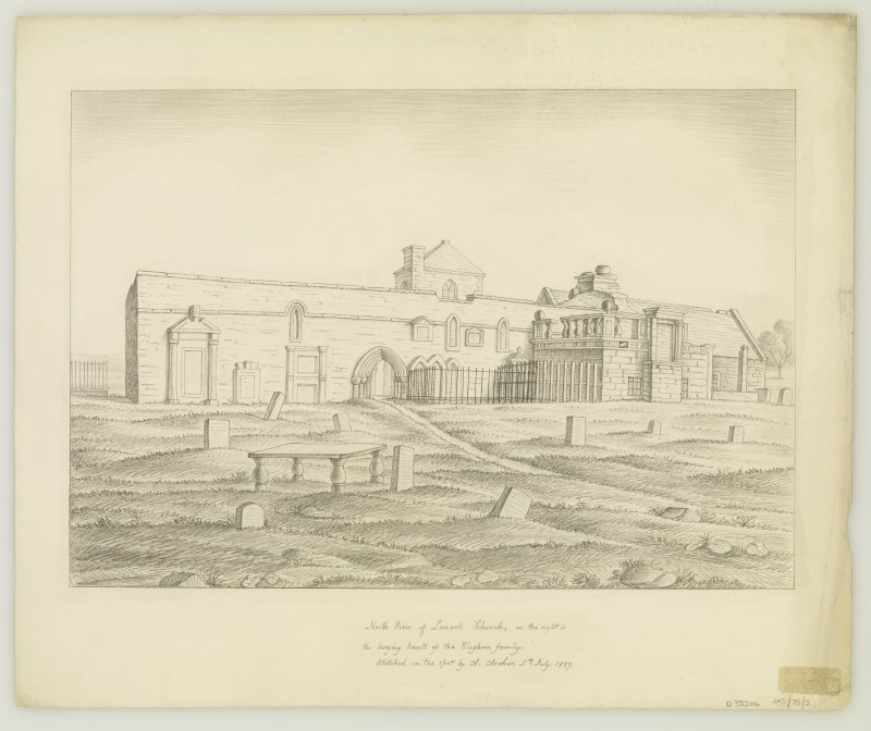 Drawing of church ruins from North.