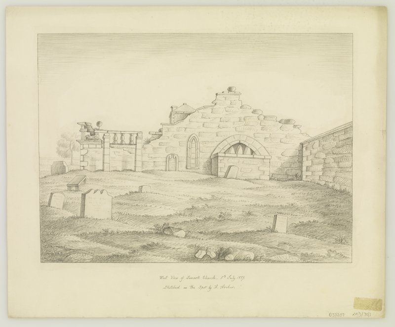 Drawing of church ruins from West.