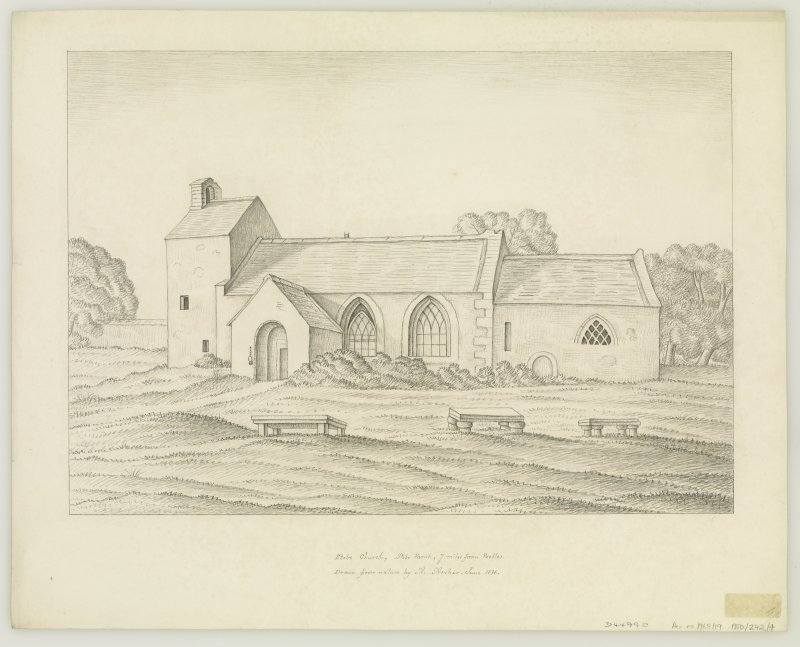 View from SE. Titled: 'Stobo Church, Stobo Parish, 7 miles from Peebles.'  'Drawn from nature by A. Archer.  June 1836.'