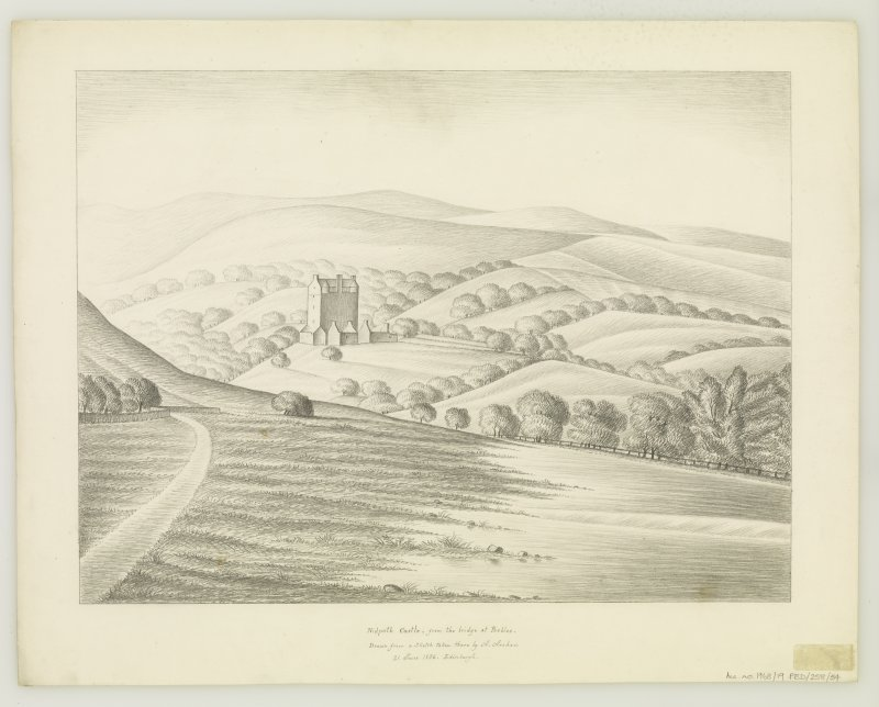 Neidpath Castle Distant view Insc: 'Nidpath Castle, from the bridge at Peebles.  Drawn from a Sketch taken there by A. Archer.  21. June 1836.  Edinburgh'