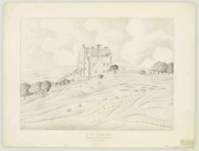Neidpath Castle Front view Insc: 'Front View of Nidpath Castle, Drawn from Nature by A. Archer.  22 Augst. 1834.'