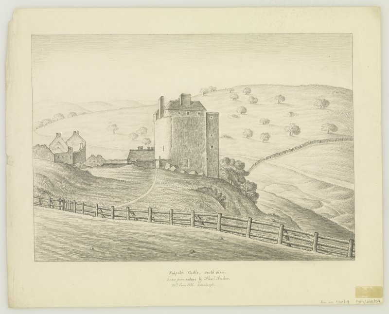 Neidpath Castle South view Insc: 'Nidpath Castle, South view.  Draw from nature by Alexr= Archer.  20th June 1836.  Edinburgh.'