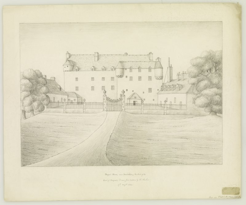 Traquair House View of the principal front  Entitled: 'Traquair House, near Innerleithen, the Sest of the Earl of Traquair, Drawn from nature by A. Archer', '19th August 1836'