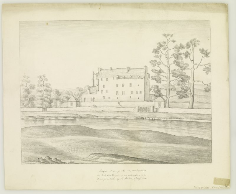 Traquair House View  of East front  Entitled: 'Traquair House, from the east, near Innerleithen, the bush aboon Traquair, is seen on the right on the hill. Drawn from Nature by A Archer, 19th Augt 1836'