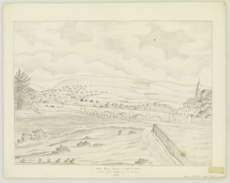 General perspective drawing showing bridge, church and Neidpath Castle.
