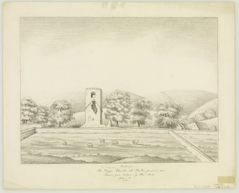 St Andrew's Church. Sketch showing general view. Titled: 'St Marys (St Andrews) Church at Peebles, founded in1100' 'Drawn from Nature by Alexr. Archer Septr. 28 1838'