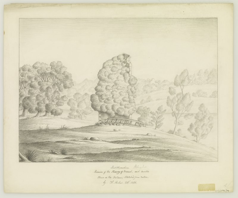 Drawing showing view from E.