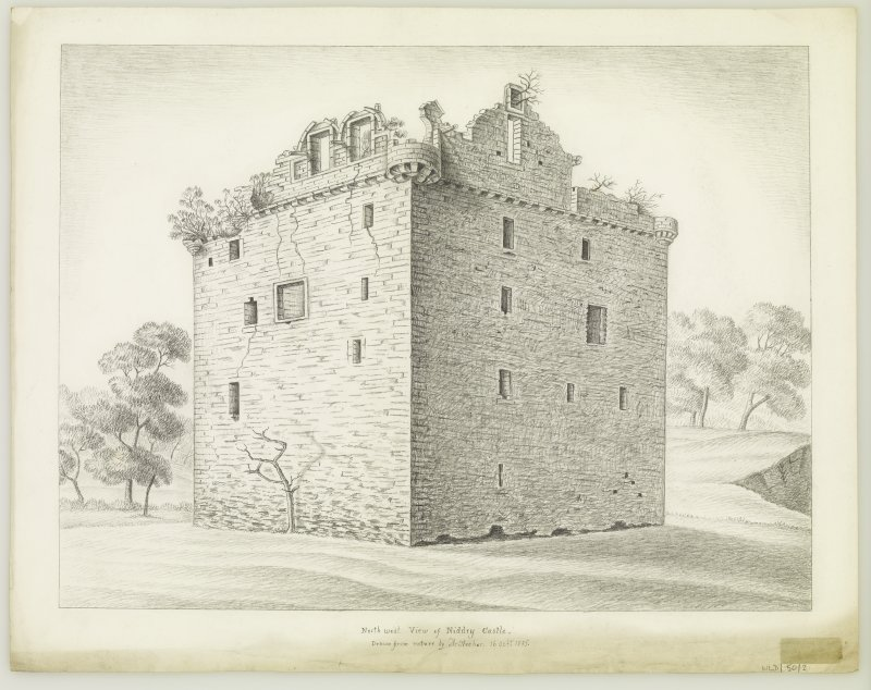 Edinburgh, Niddry Castle. View from North-West. Insc: 'North-West view of Niddry Castle Drawn from nature by A.Archer, 16. Oct. 1835'.