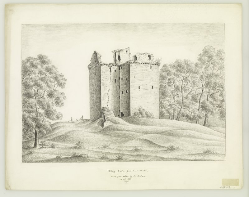 Edinburgh, Niddry Castle. View from South-East. Insc: 'South-East view of Niddry Castle Drawn from nature by A.Archer, 16. Oct. 1835'.
