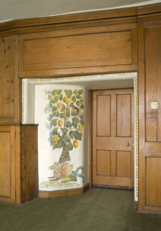 Interior. Panelled room, detail of door and panelling