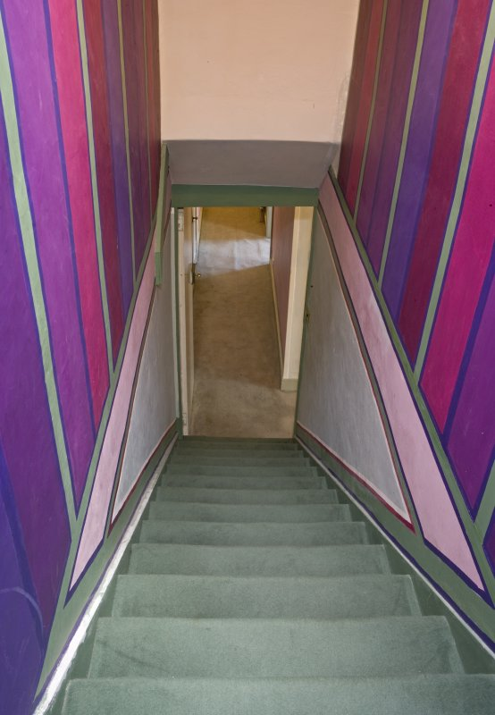 Interior view looking down stairs, 43 Magdalen Yard Road, The Vine, Dundee.