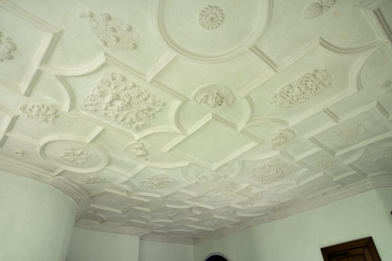 Interior. Upper floor, view of plaster ceiling